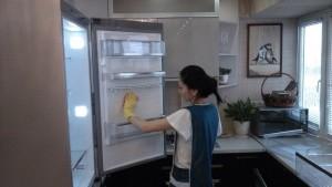 Домработница компании CleanHouse. мытье холодильника внутри