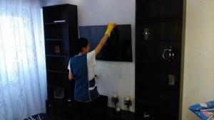 Домработница, удаление пыли с телевизора от компании CleanHouse